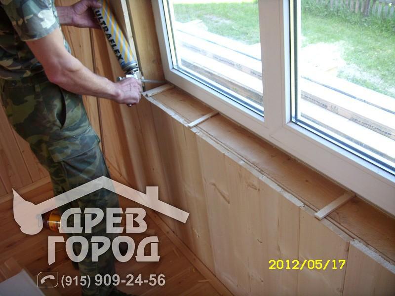 Как вставить окна пвх в деревянном доме  24
